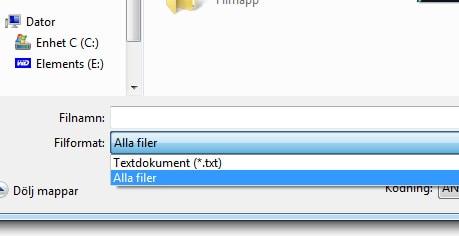 Glöm inte att välja Alla filer, annars kommer ditt dokument att sparas som en textfil och inte som en HTML-fil.